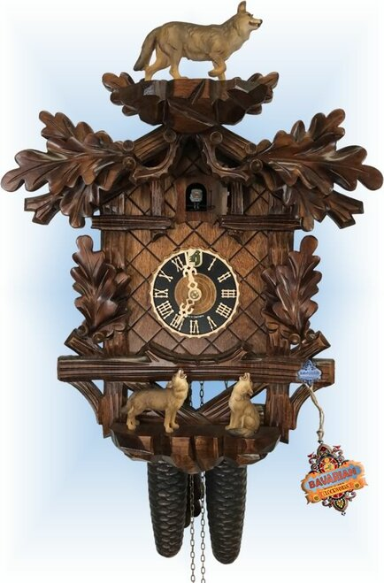 Cuckoo Clock carved style 16 inch Wolf Pack by Hones