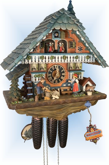 Cuckoo Clock chalet style 18 inch Blue Chalet by Hones - left angle