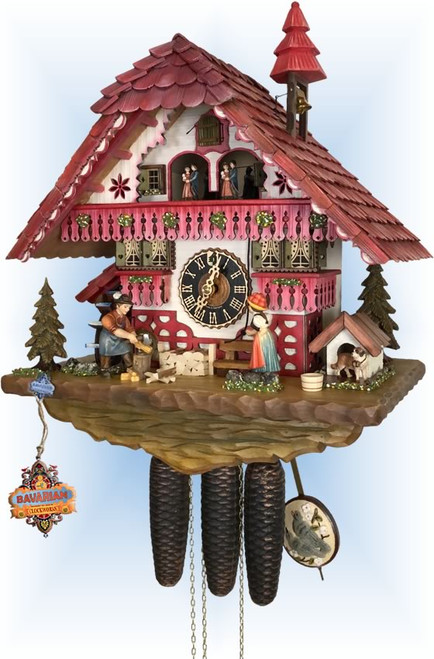 Cuckoo Clock chalet style 18 inch Rose Cottage by Hones - left angle