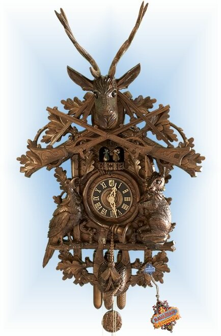 Cuckoo Clock carved style musical 44 inch Hunters Pride by Hones