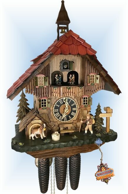 Cuckoo Clock chalet style 19 inch Titisee Hiker by Hones - left angle