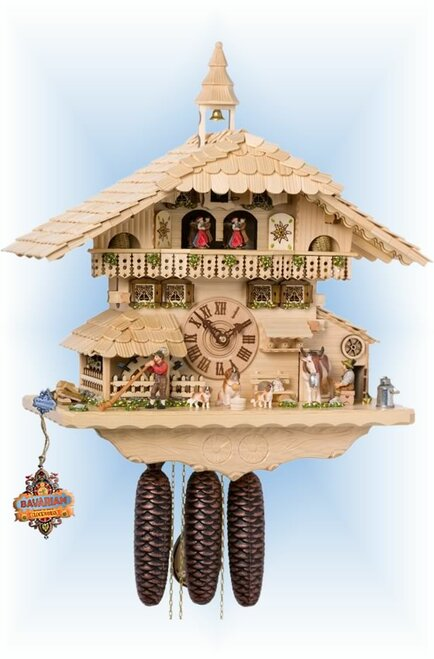 Cuckoo Clock chalet style 20 inch musical Milking Cow Natural by Hones