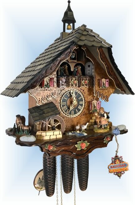 Cuckoo Clock chalet style 21 inch Pretty Pony by hones - left angle