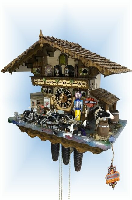 Cuckoo Clock chalet style 17 inch Harley Davidson by Hönes - right angle