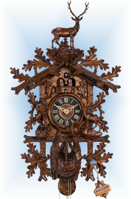 Cuckoo Clock carved style 37 inch Mountain Buck by Hönes