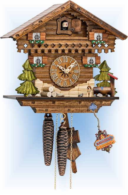 Cuckoo Clock chalet style 11 inch Simple Forest by Hekas