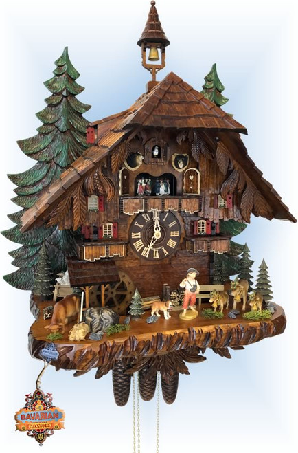 Cuckoo Clock musical chalet style 30 inch Almatreib Festival by Hekas