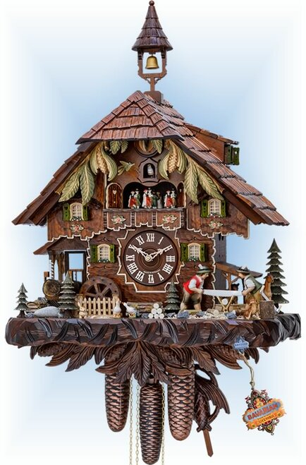 Cuckoo Clock chalet style 20 inch Black Forest Mill by Hekas