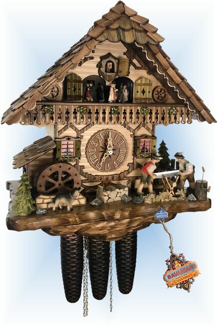 Cuckoo Clock chalet style 15 inch Mill Work by Hekas - right angle