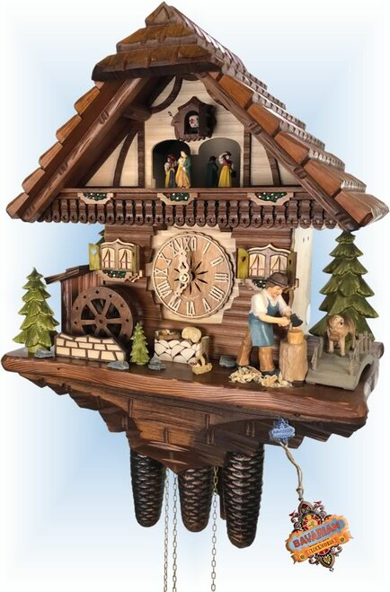 Cuckoo Clock chalet style 17 inch Companions by Hekas - left angle