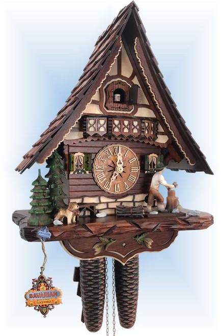 Cuckoo Clock chalet style 14 inch Swiss Chopper by Hekas