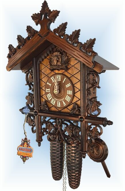 Cuckoo Clock vintage style 14 inch Railway Classic by Hekas - right angle