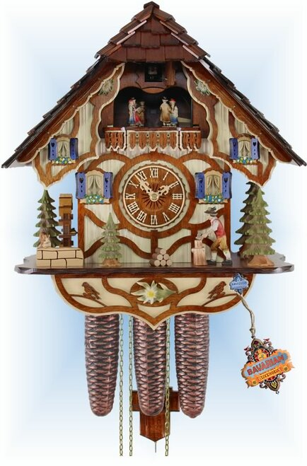 Cuckoo Clock chalet style 15 inch Busy Wood by Adolf Herr