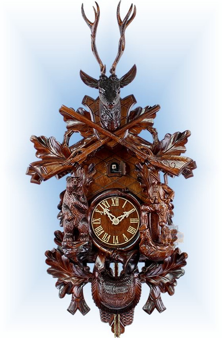 Cuckoo Clock carved style 24 inch Bear Hunter III by Adolf Herr
