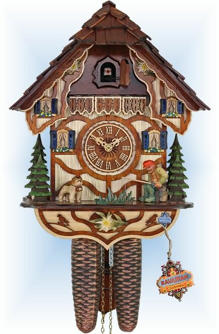 Cuckoo Clock vintage style 13 inch Lucky Fisherman by HerrZeit