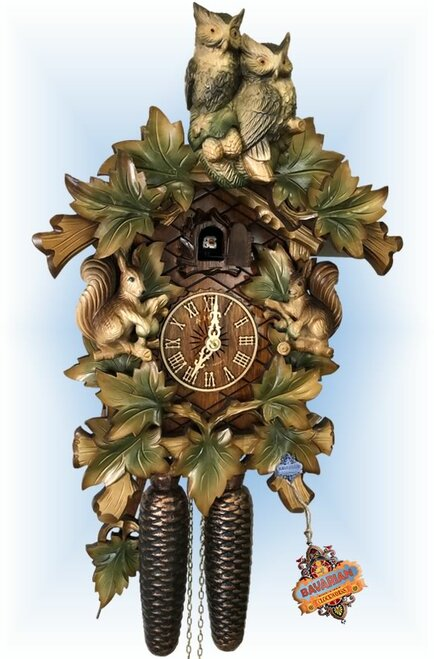 Cuckoo Clock carved style 15 inch Owl and Squirrels by HerrZeit
