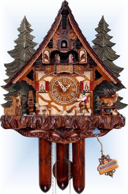 Cuckoo Clock chalet style 19 inch Hans Woodchopper by HerrZeit