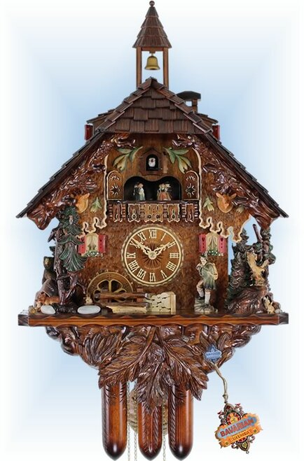 Cuckoo Clock chalet style 28 inch Black Forest Hunter by Adolf Herr