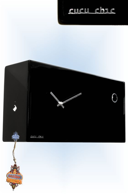 Cuckoo Clock modern style Cucu Chic Black by Progetti - left with tag