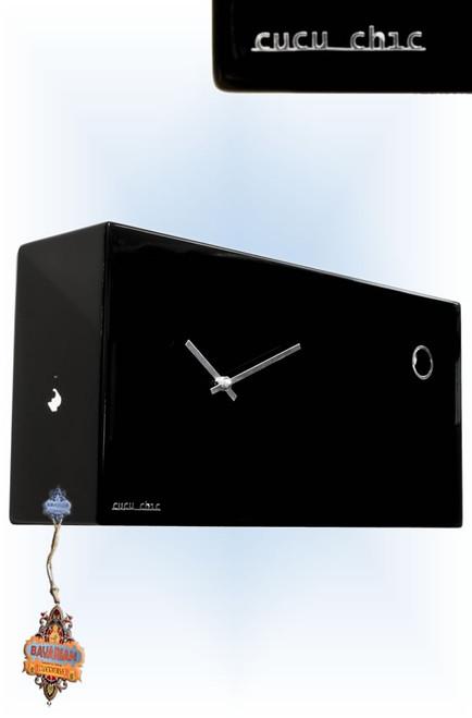 Cucu Chic Black by Progetti | Modern Cuckoo Clock | Left View
