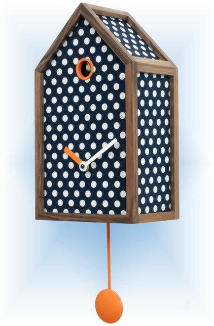 Cuckoo Clock modern style Mr. Orange Blue by Progetti - right
