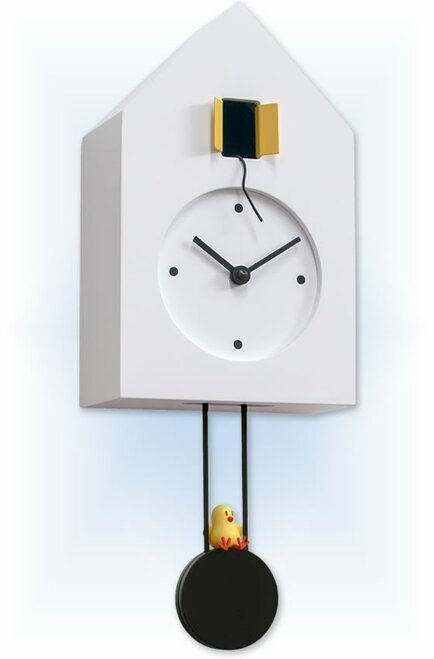 Cuckoo Clock modern style Freebird White by Progetti - left