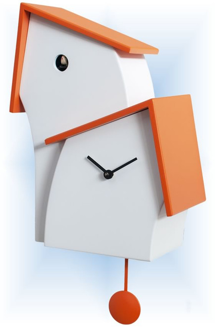 Cuckoo Clock modern style Jazz Time Orange by Progetti - right