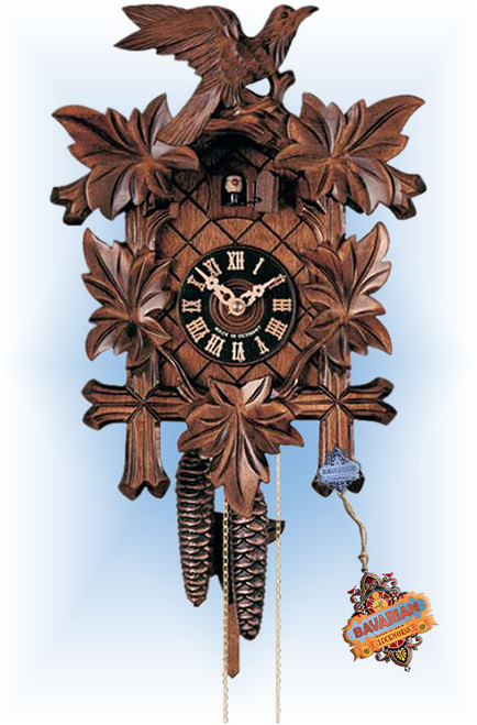 Hones | 100-4 | 16''H | 5 Leaf Bird | Traditional | cuckoo clock | full view