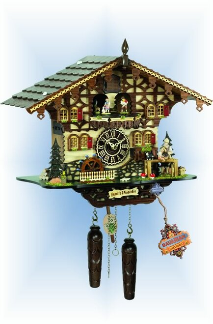 Cuckoo Clock Gepettos Pinocchio 14'' by Trenkle - full view