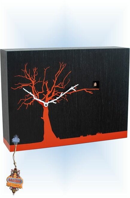 Cuckoo Clock modern style CucuRuku Black & Orange by Progetti - left