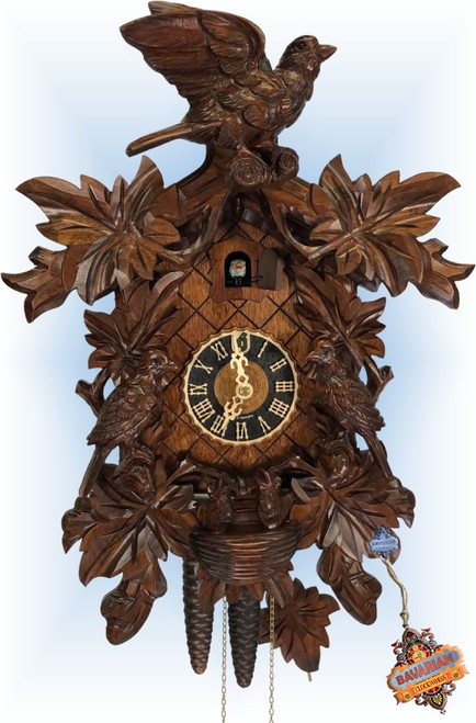 Cuckoo Clock carved style 16 inch Bird Leaf Nest by Hones