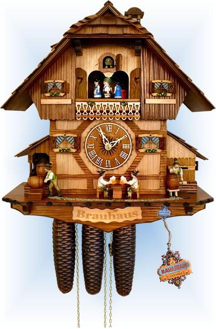 Cuckoo Clock chalet style 16 inch busy brauhaus by Anton Schneider