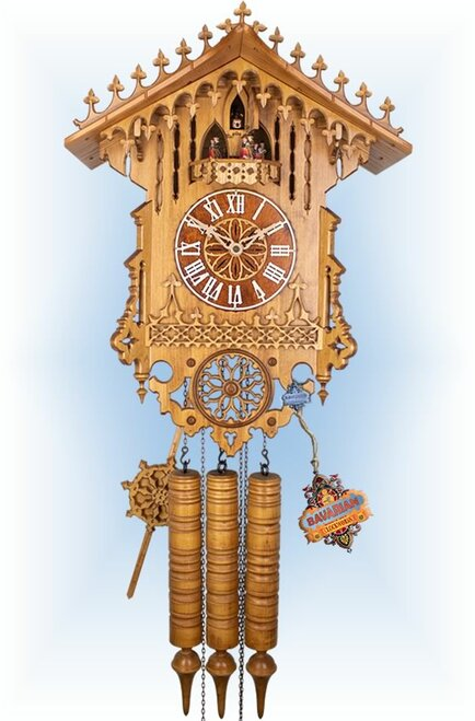 Gothic Rail by Robert Herr | 23 inch Antique Cuckoo Clock | Front View
