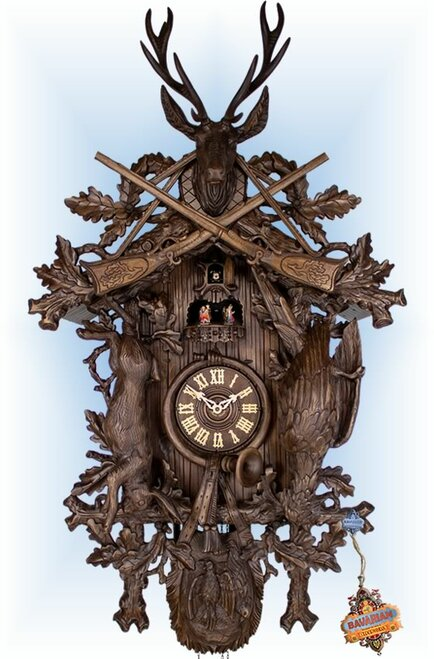 Cuckoo Clock carved style 44 inch Regal Hunter by Robert Herr