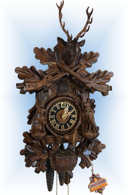 Hones | 134-3 | 17''H | Rabbit Hunter | Traditional | cuckoo clock | full view