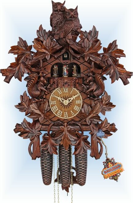 Cuckoo Clock carved style 19 inch Owls Forest by HerrZeit