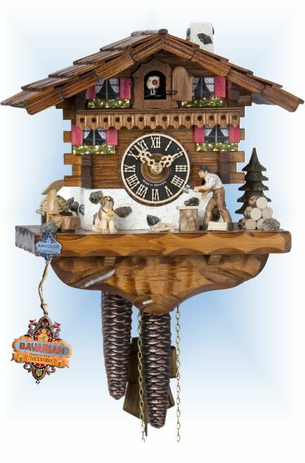 Hones | 149 | 9''H | Wood Chopper | Chalet style | cuckoo clock | full view