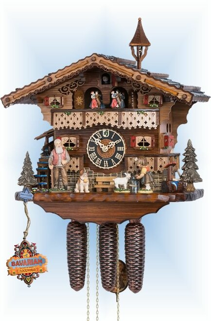 Hones | 86753T | 13''H | Girl & Goat | Chalet style | cuckoo clock | full view