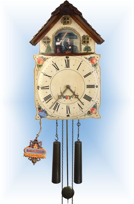 Rombach & Haas | 7300 | 17''H | Angry Hausfrau | Shield style | painted clock