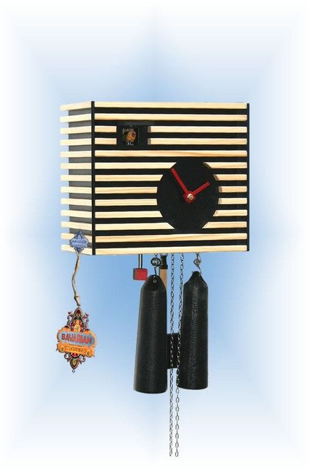 Rombach & Haas | cs34-2 | 8''H | Bauhaus Black | Modern | cuckoo clock | full view