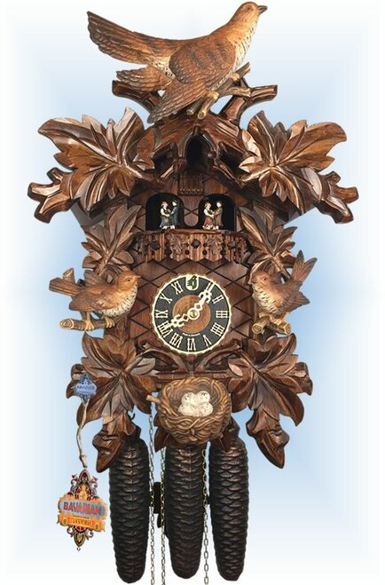 Cuckoo Clock carved style 17 inch musical Nesting Birds by Hones