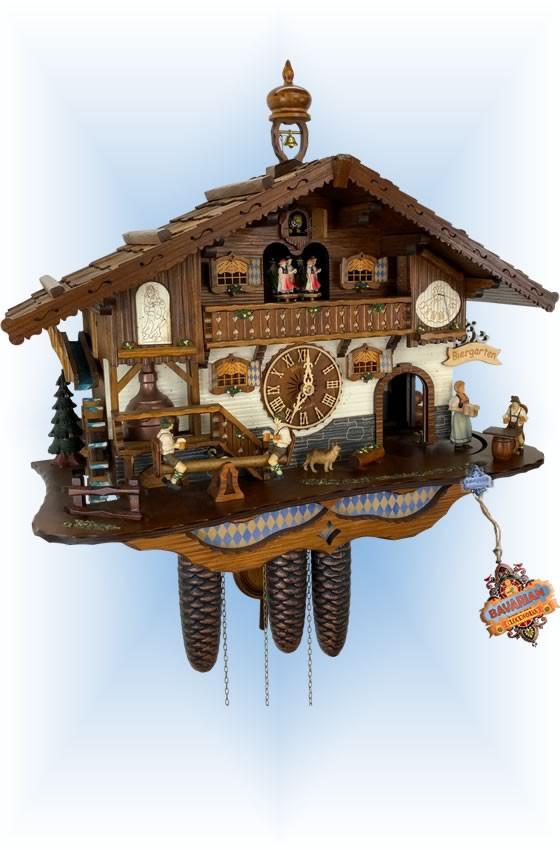 Schneider | 8tmt-3413-9 | 17''H | Bavarian Biergarten | Chalet style | cuckoo clock | full view