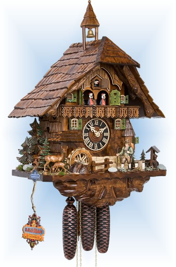 Hones | 86740t | 23''H | Hunter in Forest | Chalet style | cuckoo clock | full view