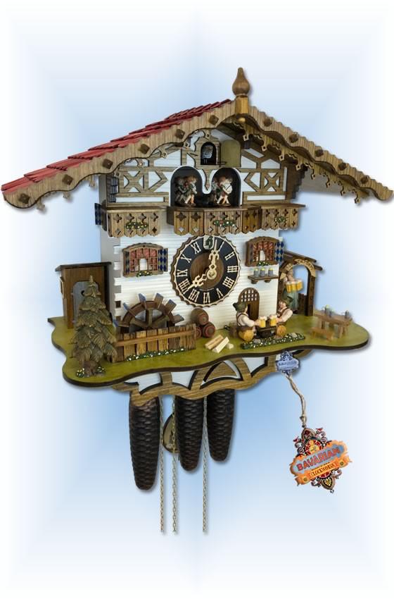 Hones | 8664t-zenzi | 14''H | German Biergarten | Chalet style | cuckoo clock | angle