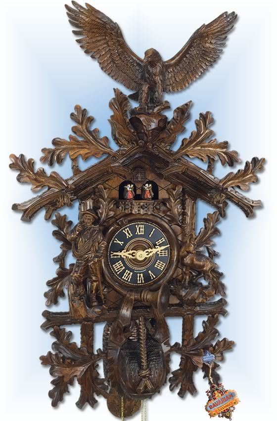 Hones | 8667-8tnu | 36''H | Hunting Eagle | Traditional | cuckoo clock | full view2