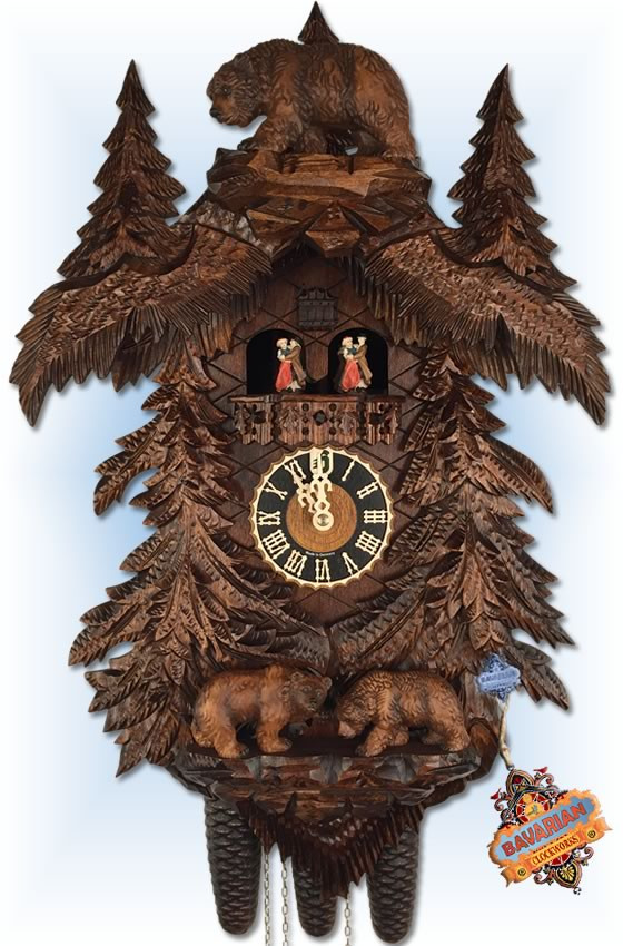 Hones | 86709-5tko | 25''H | Bears in Forest | Traditional | cuckoo clock