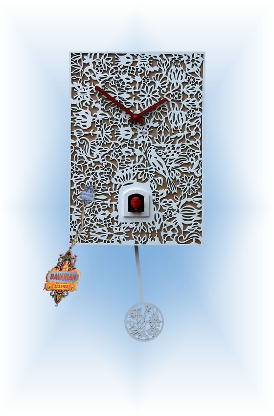 Rombach & Haas   snq1   12''H   White Silhoutte Q   Modern   cuckoo clock   full view