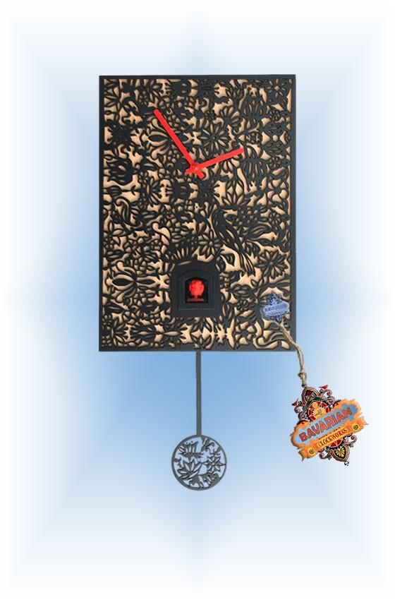 Rombach & Haas   snq1-2   12''H   Black Silhoutte Q   Modern   cuckoo clock   full view