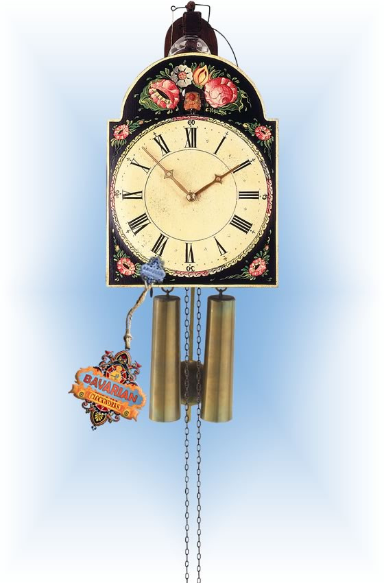 Rombach & Haas   3402   13''H   Black Floral   Vintage   cuckoo clock   full view