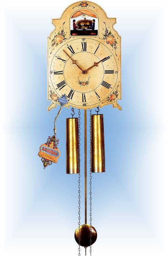 Rombach & Haas   7376   15''H   Bell Ringer   Shield style   painted clock   full view